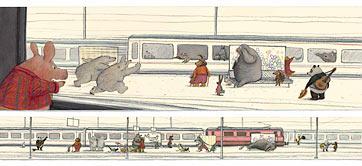 Doble pàgina interior de Johanna en el tren.