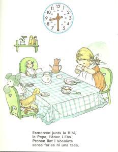 Bibi esmorzant amb tots els ninos que es feia càrrec.